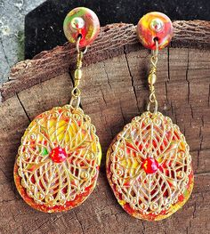 Mullti-colored Clay Dangle Earrings