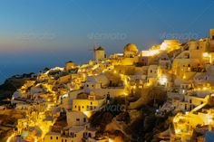 Oia on Santorini island at night ...  Santorini, aegean, architecture, beautiful, blue church, breathtaking, building, caldera, colorful, cupola, cyclades, darkness, dawn, dusk, europe, greece, greek, holiday, home, honeymoon, house, island, landmark, landscape, lights, mediterranean, nature, night, oia, old, paradise, scenery, sea, sky, street, summer, sunrise, sunset, tourism, town, travel, twilight, vacation, view, village, volcano, wall, water, white, windmill