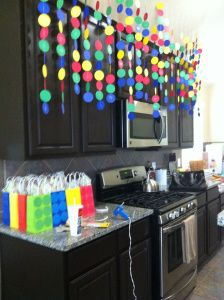 LEGO Birthday Party. Like this idea but instead of circles make them rectangular like legos