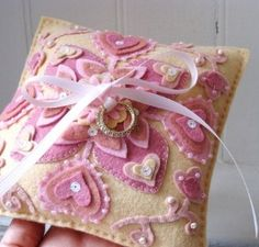 Pretty pink hearts felt ring bearer pillow