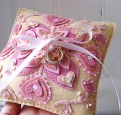 Pretty pink hearts felt ring bearer pillow