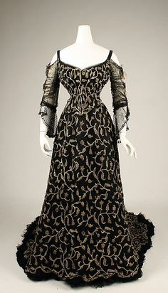 Dress with 2 Bodices and Court Train (without train, longer sleeve bodice) Date: 1904 Culture: French Medium: silk Accession Number: C.I.37.44.9a–d