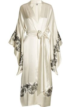 Handmade Ivory silk-satin Black piping and lace applique, draped kimono sleeves, waist sash Slips on 100% silk Dry clean
