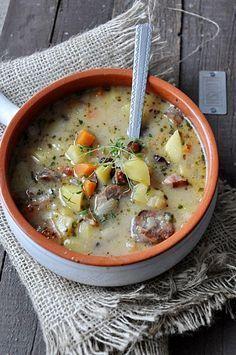 #zupa #soup Zalewajka z grzybami B Food, Good Food, Soup Recipes, Cooking Recipes, Healthy Recipes, Czech Recipes, Ethnic Recipes, Chef And The Farmer, Polish Recipes