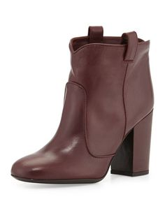 Your shape be drivin me crazy! Pete Leather Ankle Boot, Wine by Laurence Dacade at Bergdorf Goodman.