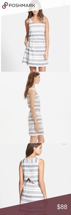 NWT Madewell linen open back overlay striped dress New with tags from the Spring 2016 collection! Gorgeous linen dress, feels like you should be in Greece when wearing this! No low ball offers, this dress is selling for $80 used! Madewell Dresses Midi