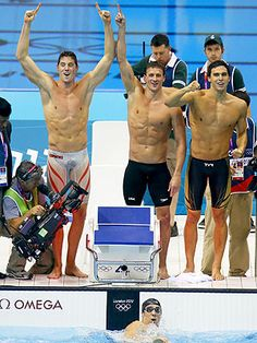 Conor Dwyer, Ryan Lochte, Ricky Berens, and Michael Phelps <3