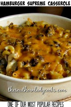 French Delicacies Essentials - Some Uncomplicated Strategies For Newbies Hamburger Casserole - The Southern Lady Cooks - Easy Recipe Hamburger Dishes, Beef Dishes, Pasta Dishes, Food Dishes, Main Dishes, Hamburger Helper, Dinner Dishes, Supper Recipes, Hamburgers