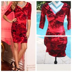 BOSTON PROPER Red Floral Off the Shoulder Dress 4 BOSTON PROPER PRICE - $149  This beautiful dress with all over ruching and a chic floral print is sexy and body hugging from the shoulders all the way down to the hemline.  If inbetween sizes or busty, I would size up on this one.  Made of a polyester knit, above knee length, fitted.  Sharp dress!  From Boston Proper.  Details: NWT   *Size 4     *Color:  Reds, black  95% polyester, 5% spandex  Lining:  100% polyester  Off the shoulder…