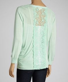 Look at this #zulilyfind! Dani Collection Mint Lace Cardigan by Dani Collection #zulilyfinds