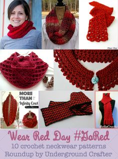 Wear Red Day, 10 (mostly free) crochet neckwear patterns - roundup by Underground Crafter