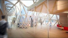 Une vue intérieure du futur office de tourisme du pays de Laval dessiné par l'architecte Odile Decq.
