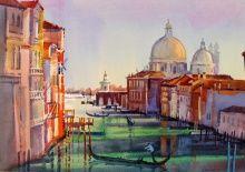 View from the Academia Bridge, Venice Italian Paintings, Venice, Taj Mahal, Bridge, Fine Art, Group, Building, Travel, Viajes