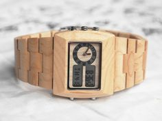 Wooden Date Day Wood Watch For Men or Women Alarm Stopwatch 4 Colors Gift