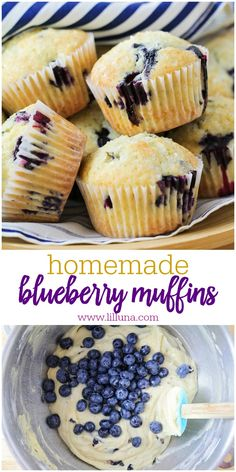 Muffin Recipes 54626 These soft, delicious Blueberry Muffins are simple and perfect for breakfast, snack or after-school treat. They're filled with blueberries and topped with coarse sugar making them irresistible. Baking Recipes, Cookie Recipes, Dessert Recipes, Baking Ideas, Pasta Recipes, Homemade Blueberry Muffins, Blueberry Breakfast, Breakfast Muffins, Blueberry Muffin Recipes