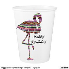 flamingo art flamingo drawing Zentangle doodles flamingo theme party Happy Birthday Flamingo Party Paper Cup