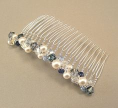 Bridal Party Hair Comb, Wedding Hair Accessories, Navy Blue Blend and White Pearl Mix, Something Blue, Navy Weddings, 3 inch width