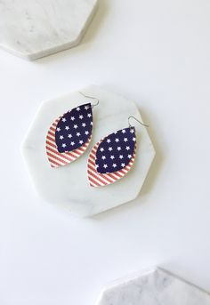 Stars and Strips Stacked Faux Leather Earrings, Faux Leather Earrings, Red White and Blue Earrings, 4th of July Earrings by PinkDivasCreations on Etsy