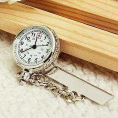 Nurse Silver White Dial Quartz Pocket Watch Clear Cover Pin - US$3.41