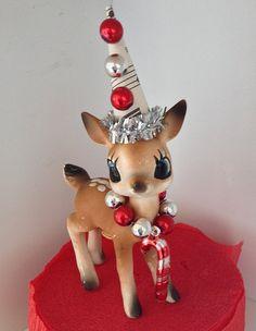 Christmas Decoration Vintage Deer Christmas Ornament by JeanKnee