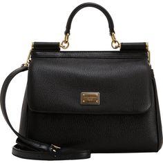 Dolce & Gabbana Medium Miss Sicily Bag ($1,595) ❤ liked on Polyvore featuring bags, handbags, purses, bolsas, genuine leather purse, flap handbags, purse, structured handbag and leather purse