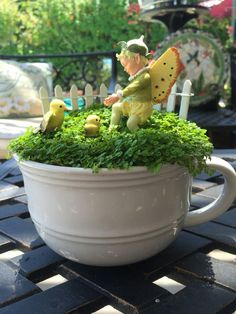 Miniature Fairy Garden - TEA CUP. JUST DUCKIE is about a young fairy boy who reaches out for a baby yellow bird only to see that the baby bird is being watched very carefully by mama bird. 6/2015