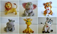 Lion, elephant, tiger, hippo, giraffe, zebra