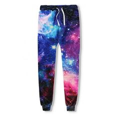 Hot Fashion Digital Galaxy Printed Drawstring Waist Oversize Joggers ($29) ❤ liked on Polyvore featuring activewear