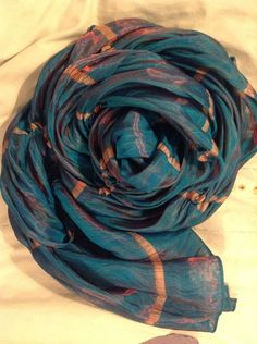 "$16 Silk India 68 x 22.5"" LONG SCARF ShirrTurquoise Gray Stripe Pearl Stud by CCC  #CCC #Scarfwrap"