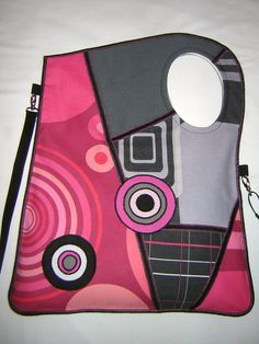 LARGE CANVAS BAG mixed fabrics in Black-Gray-Pink