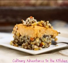 Vegetarian Shepherd's Pie {Culinary Adventures in the Kitchen} This sounds interesting and can be made vegan easily.