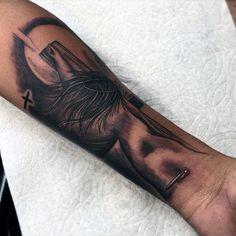 Incredible 3d Jesus On Cross Tattoo For Guys Wrist