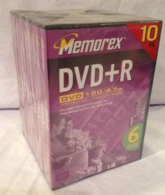 10pk Memorex DVD+R - Recordable 4.7GB 120 Min w/ Full Size DVD with Cases #Memorex