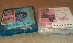 Got those two  big boxes of preschool and kindergarten papers condensed to two 12x12 scrapbook paper containers. Labeled them with picture of Alison on her first day of each. Ready for 1st grade now!