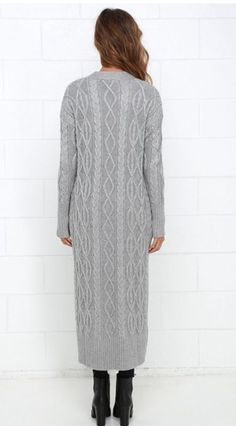 """LOVE STITCH Grey """"Milan Duster"""" Cable Knit Long Maxi Cardigan Cashmere Blend"""