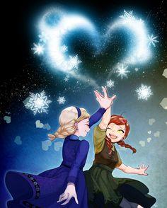 Frozen- Anna & Elsa by しこん on pixiv