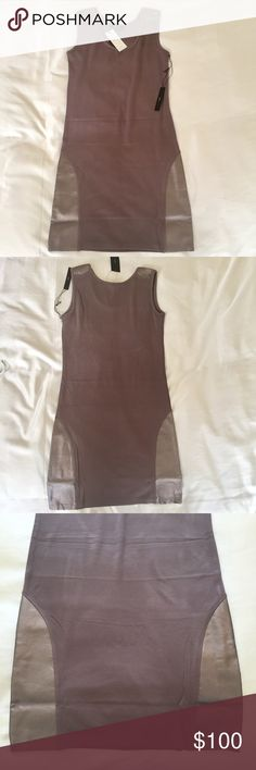 BCBG MaxAzria Body Con Dress Brand new, never worn BCBG tank body con dress. Tops of shoulders and sides of bottom hem has leather trim in metallic accents. Beautiful dress and can be dressed up or down. Add a blazer for work or heels for a night out. BCBGMaxAzria Dresses