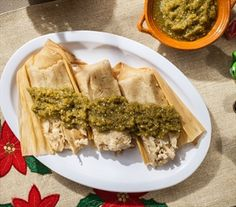 Chicken Tamales with Poblano Sauce Total time: 3 hours | Serves: 8