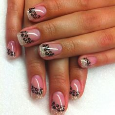 Animal print on one maybe.... I like the gel acrylic w glitter instead if solid white french