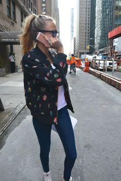 bomber jacket + jeggings