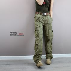 Details about Womens Army Green Baggy Loose Cargo Pants Wide ...