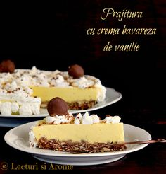 prajitura cu crema bavareza de vanilie lecturi si arome Romanian Desserts, Romanian Food, Cake Recipes, Dessert Recipes, Eat Pray Love, Caramel, Sweet Tooth, Cheesecake, Deserts