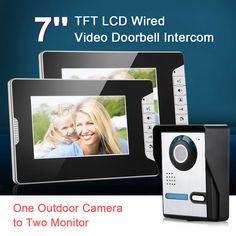 Video Türsprechanlage Gegensprechanlage Klingel Bildspeicher 2x7  Kamera Monitor