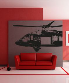 Vinyl Wall Decal Sticker Open Blackhawk Helicopter #OS_AA721 | Stickerbrand wall art decals, wall graphics and wall murals.