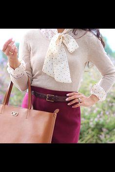 Fuchsia skirt, polka fitted top. Modest fashion.