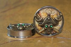 """Pirates of the Caribbean Plugs gauges, 1 5/8"""" (42mm), 1 3/4"""" (45mm), 1 7/8"""" (48mm) from Etsy"""
