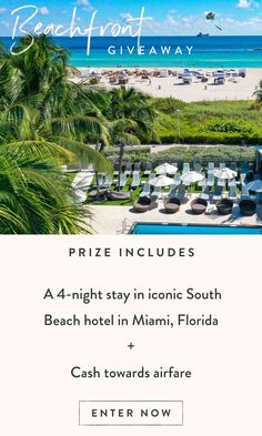 Vacation Destinations, Dream Vacations, Enter To Win, Me Time, South Beach, Summer Fun, Places To See, Giveaway, Trips