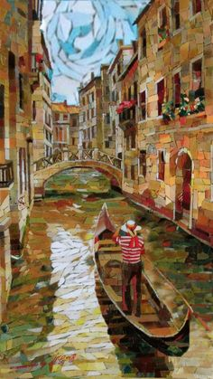Venezia la gondola il ponte ma in mosaico è bellissimo... Animata da MikiG  ciao