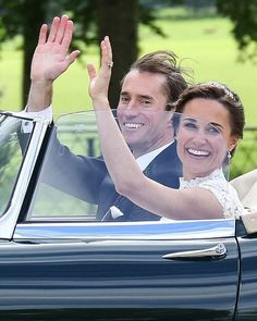 Off they go! Happy couple Pippa Middleton and James Matthews were seen leaving the church and heading off to the reception in their Jaguar E-Type after saying their vows in front of 100 friends and family at St Mark's Church in Berkshire