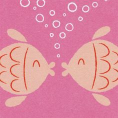 Love Card, Valentine Card, Wedding Card, Engagement Card - Kissing Fish
